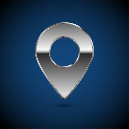 matted: Mapping pin icon. Vector metal chromed glossy sign