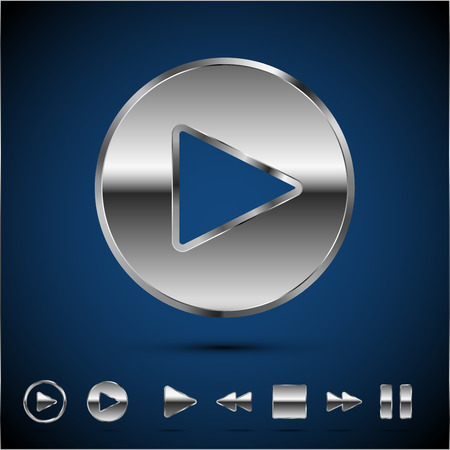 nickel: Play button and other media player icon, Metal style vector