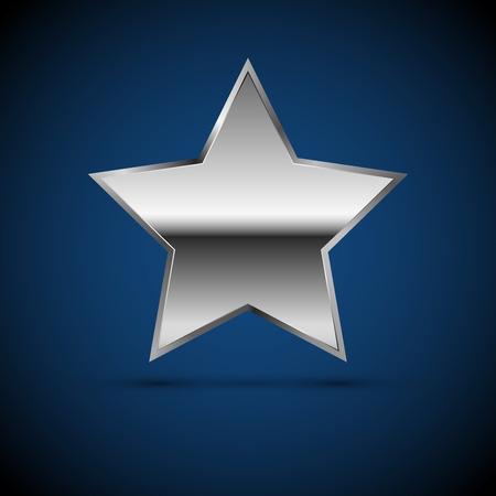 acero: de metal cromado o el icono de la estrella de plata, Muestra del vector
