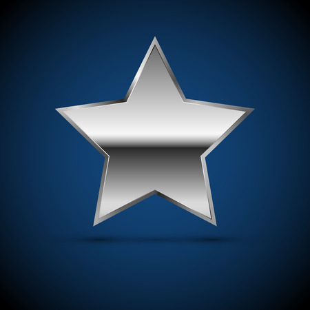 shiny metal: Metal chrome or silver Star icon, Vector sign Illustration