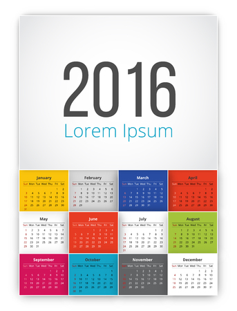 looseleaf: 2016 calendar with square tiles usa style sunday first day of week. Vector template .