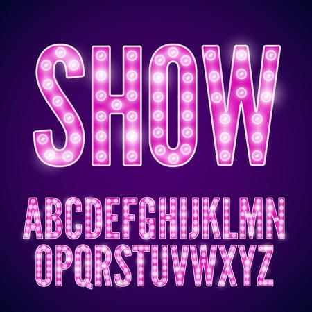 violeta: Vector violeta de neón rosada de la fuente de la lámpara cine