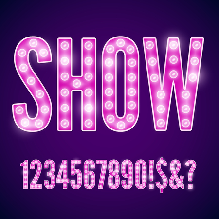 neon font: Vector violet pink neon lamp cinema font - numbers part