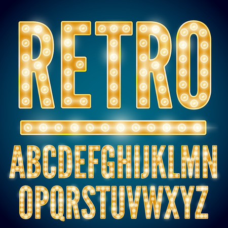 nightclub: Realistic vector lamps alphabet, font set, retro style, yellow gold colors.