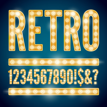 Realistic vector lamps alphabet, font set, retro style, yellow gold colors, numbers part.