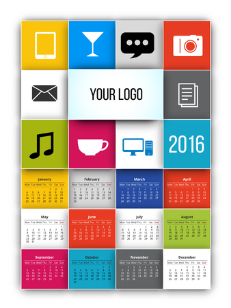 looseleaf: 2016 calendar template with square tiles style. Vector. Illustration