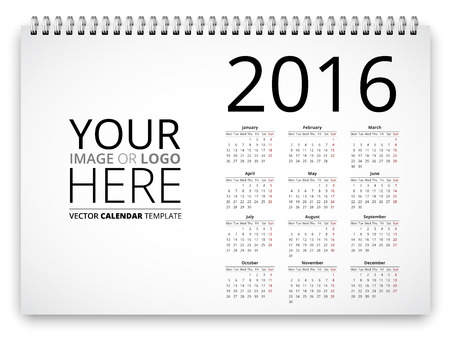 illustration notepad: Poster proportion calendar template for 2016 years. Vector illustration notepad spiral template with place for logo or image