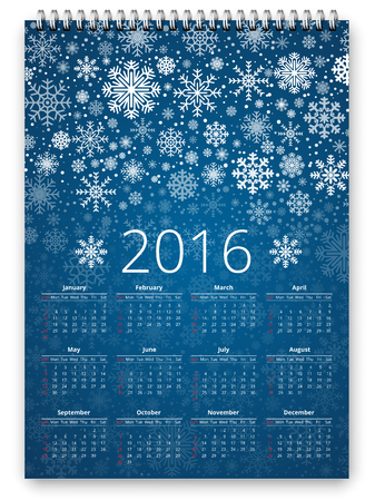 gift season: Calendar for New 2016 year -  vector design template in a3-a4 poster size proportion with snowflakes design Illustration