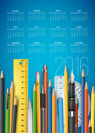 looseleaf: 2016 calendar for education themes with pen, pencils, rule etc school stuff. Vector template