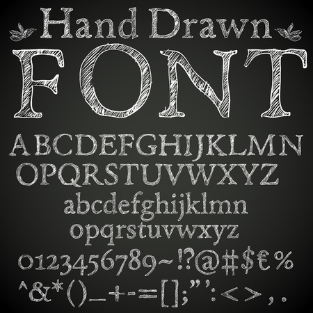 Hand drawn pencil or chalk sketched font: letters, numbers and symbls, vector