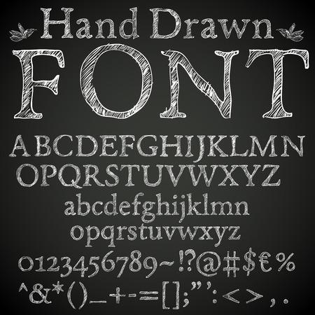 boceto: Dibujado a mano l�piz o tiza esboz� la fuente: letras, n�meros y symbls, vector