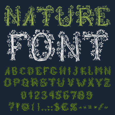hand pencil: Hand pencil drawn green colored natural ecological vector font