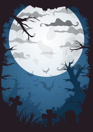 a4 borders: Halloween blue spooky a4 frame border with moon, death trees and bats. Vector background with place for text Vettoriali