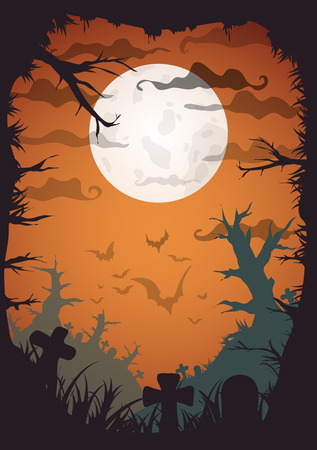 cartoon halloween: Halloween yellow spooky a4 frame border with moon, death trees and bats. Vector background with place for text Illustration