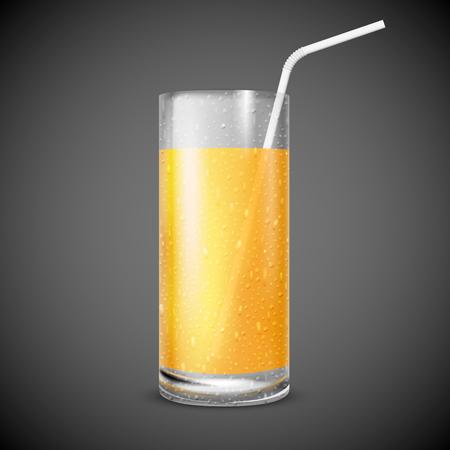 vaso de jugo: Ilustración vectorial de vaso de jugo con gotas de agua sobre fondo negro Vectores