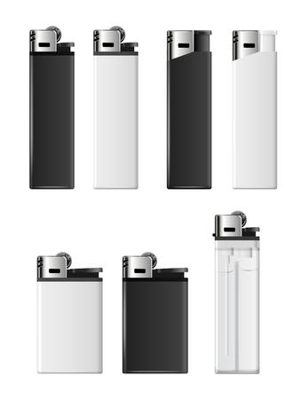 encendedores: Blanca y encendedores en blanco negro plantilla de vector para la comercialización