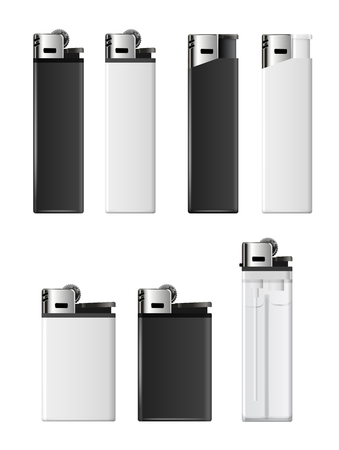 merchandising: White and black blank lighters vector template for merchandising Illustration