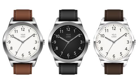 cronógrafo: Conjunto de tres vector realista clásico reloj de metal sobre fondo blanco