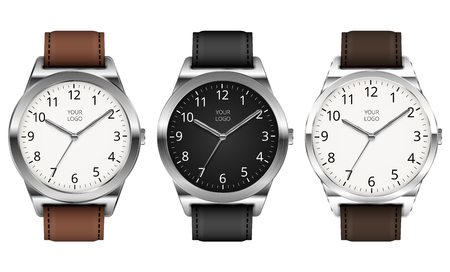 Set of Three Vector Realistic Classic Metal Watch On White Background