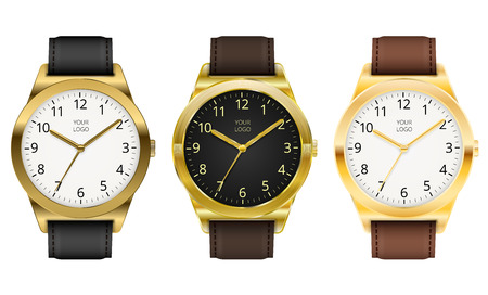 gold watch: Gold watches, three classic design expensive watch. Vector illustration. Illustration