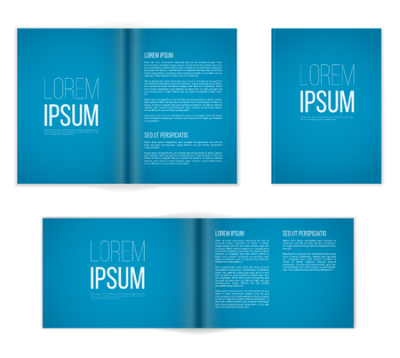 A4 or other A format  blue brochure templates. Cover and  double-page spread both vertical and horisontal design with  text elements.