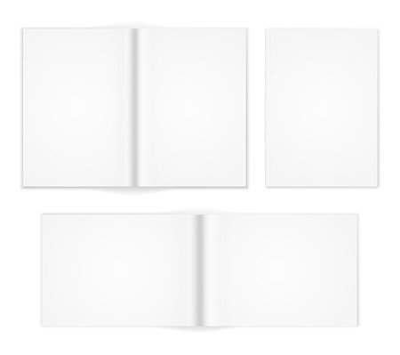A6 A5 A4 or other A format  white brochure templates. Cover and  double-page spread both vertical and horizontal design with  text elements. Illustration