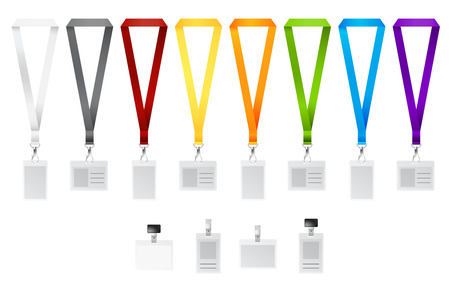 Set of lanyards with different colors ribbons. Vector illustration