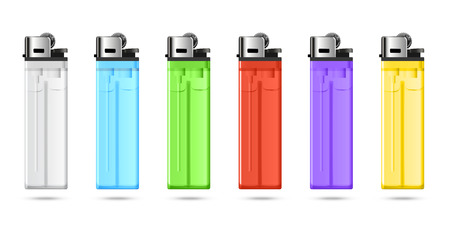 merchandising: Realistic  colored set of cheap  lighters for merchandising.  Illustration