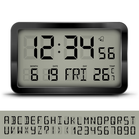wather: Gray digital clock and weather station with additional LCD font