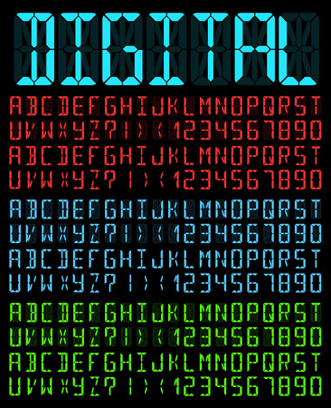 liquid crystal: Digital Liquid Crystal  Display Font Bright Colored  Blue version.  Illustration
