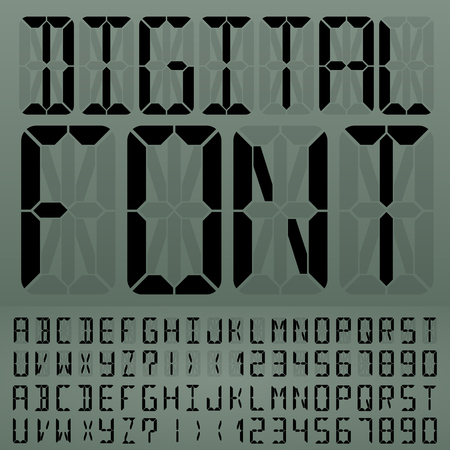 liquid crystal: Digital Liquid Crystal Display Font Gray Background. Illustration