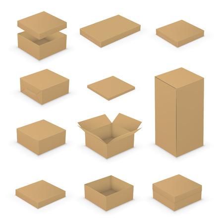 boite carton: Petit court ouvert et fermé Boîtes collection de modèle. Paquets bruns sur fond blanc, illustration vectorielle Illustration