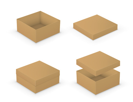 packaging box: Open and closed boxes design collection. Brown packages on white background Illustration