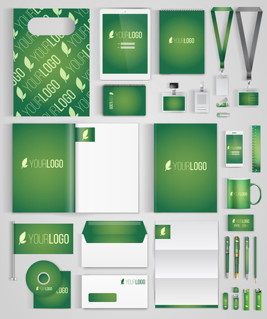 identity: Green  design template of corporate identity  with big set of business stationery. Vector illustration