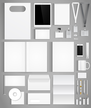Blank white design template of corporate identity  with big set of business stationery. Vector illustration Vettoriali