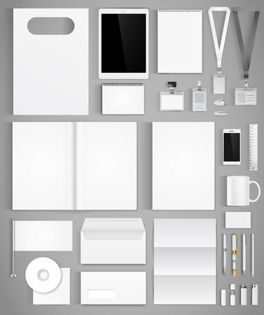 identidad: Plantilla en blanco white diseño de la identidad corporativa con gran conjunto de la empresa de papelería. Ilustración vectorial