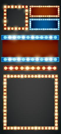 青赤ゴールド色ベクトル レトロに見えるフレーム ライト看板テンプレート。  イラスト・ベクター素材