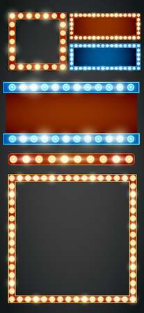 bulb light: Blue red gold colored vector retro looks frame light billboard template.