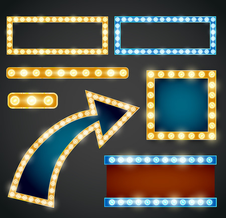blue violet: Set of yellow, violet and blue arrows with bulb lamps.