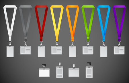 green office: Set of lanyards with different colors ribbons.