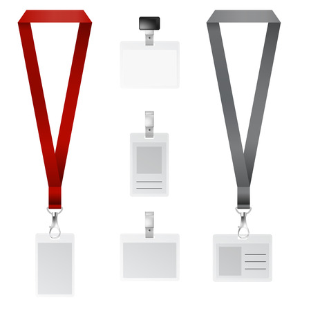 lanyard: Vector set of lanyard, retractor end badge with black and red ribbons Illustration
