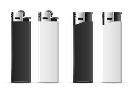 merchandising: Realistic black and white cheap merchandising lighters Illustration