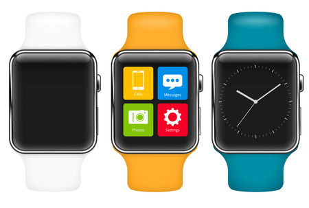 wristlet: Vector template of smart  watch with different colors wristlet