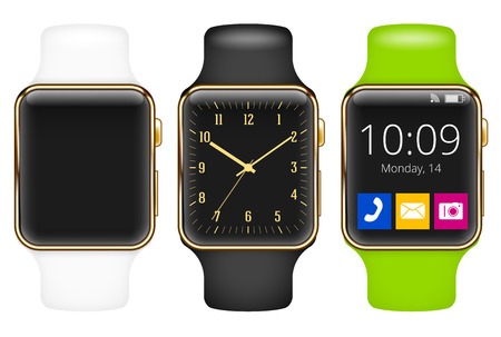 gold watch: Vector template of gold luxury smart watch with different wristlet Illustration