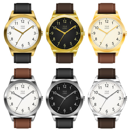 Gold watches, six classic design expensive watch set. Vector illustration. Stock Illustratie