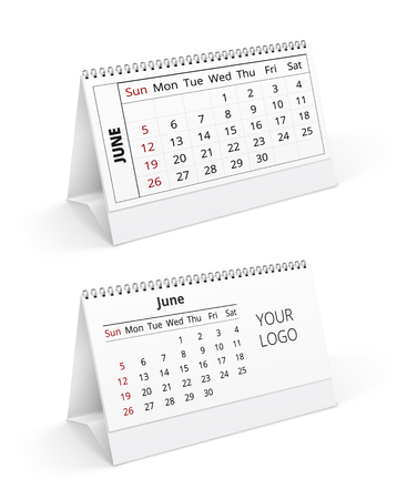 for example: Two desktop calendar realistic  template with example mont and place for logo.