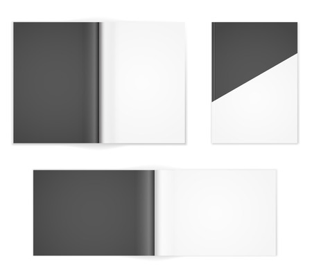 a1: A4 or other A format  black and white brochure templates. Cover and  double-page spread both vertical and horizontal design with  text elements. Vector illustration