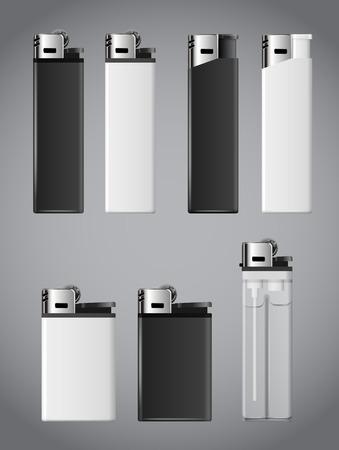 encendedores: Realistas encendedores de fuego blanco y negro. El conjunto del vector