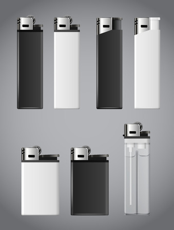 encendedores: Realistic white and black fire lighters. Vector set Vectores