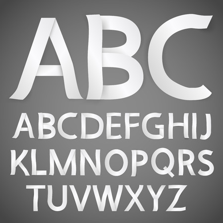 papercraft: Paper font - white letter from curved paper. Realistic vector with shadows